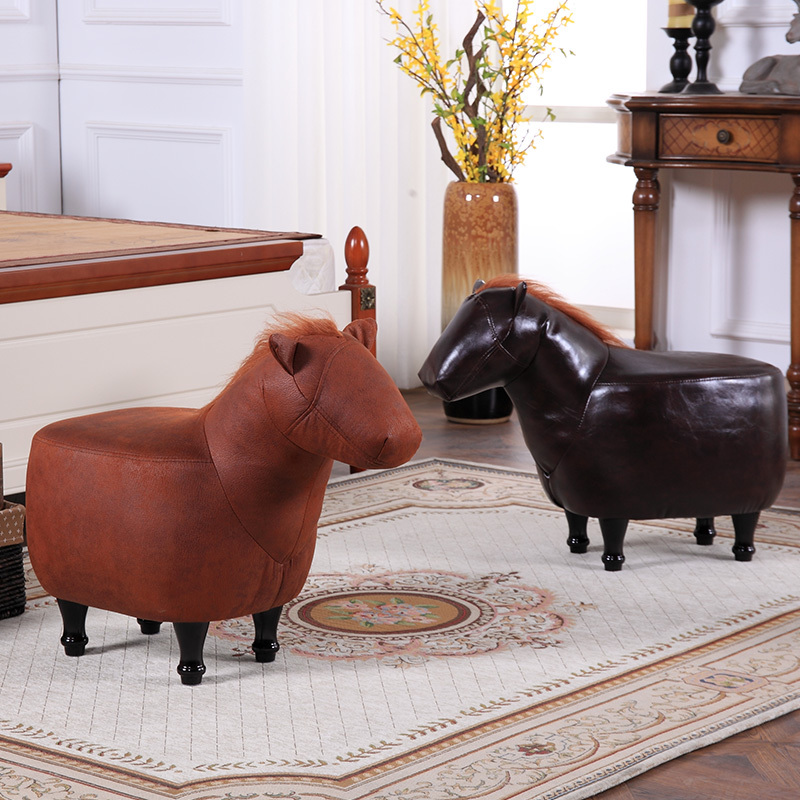 Pony modeling solid wood shoes stool creative mini stool ottoman living room sofa stool hot selling fine workmanship high quality fashion modern shoes stool fabric creative footstool living room sofa stool ottoman