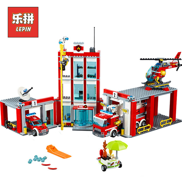 Lepin 02052 City Series the Fire Station Truck Rescue Vehicle 60110 Building Blocks Bricks Educational Boy Toy Christmas Gift new lepin 02052 genuine city series 1029pcs the fire station set 60110 building blocks bricks funny kid s toys as chritmas gifts