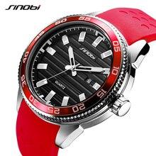 SINOBI 316 Stainless Steel Mens Sports Watches Luxury Brand Silicone Waterproof Men Military Watch Quartz Relogio Masculino