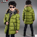 Winter children's clothing male child cotton-padded jacket outerwear  winter big boy child long design thickening