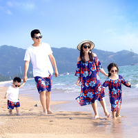 Summer Family Outfit 2018 Mother Daughter Print Dress Dad Son T Shirt Shorts Vocation Family Clothes