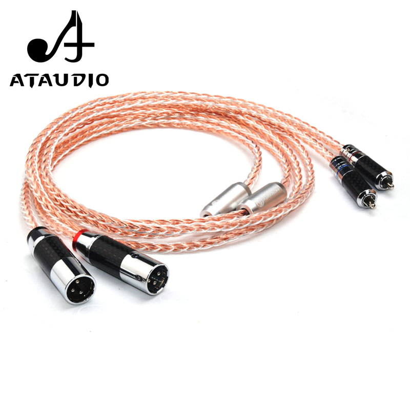 ATAUDIO 7N OCC Silver and Copper Hifi RCA to XLR Cable Hi end 2RCA Male to