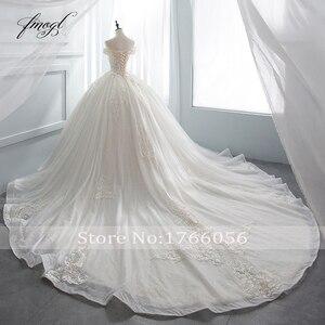 Image 2 - Fmogl יוקרה מתוקה תחרת כדור שמלת חתונת שמלת 2020 קפלת רכבת אפליקציות קריסטל שמלות הכלה Vestido דה Noiva