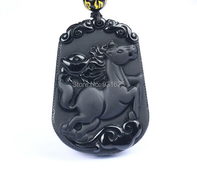Natural Genuine Black Obsidian Carved Chinese Zodiac Horse Amulet Lucky Blessing Pendant Free Necklace Fashion Jewelry