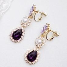 Korean New Boho Water Purple Dangle Earrings Vintage Silver White CZ Zircon Crystal Charming for Women Jewelry Gifts