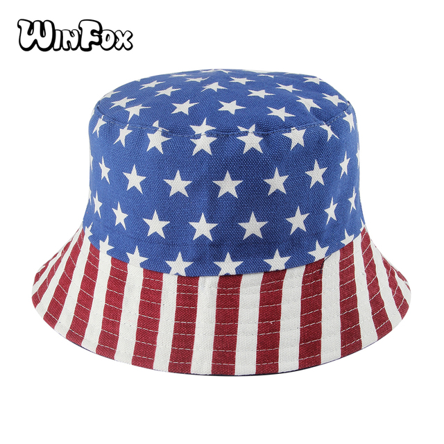 Winfox 2018 New Unisex Fashion Summer Reversible Navy Star American Flag  Fisherman Caps Bucket Hats Poliester 55b1bc51b305