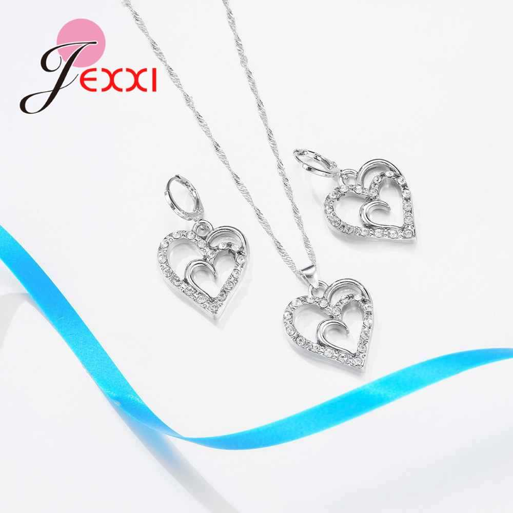 Sweet Double Love Heart 925 Sterling Silver Trendy Necklace Earring Exquisite Women Wedding Nice Jewelry Sets Accessory