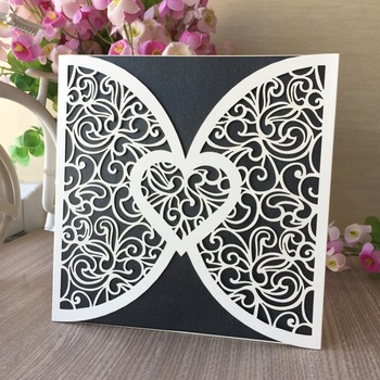 100Pcs Pearl paper Pretty Wedding Decoration Supplies Romantic Laser Cut Wedding Invitations Lace Heart Wedding Invitation Cards