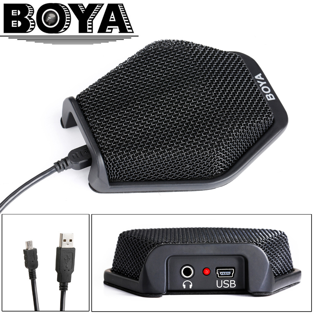 BOYA USB Condenser Desktop Conference Computer Microphone with 180 Degree / 20' Pickup Range for Windows & Mac & Laptop Business boya by mc2 portable usb condenser conference microphone durable for speech