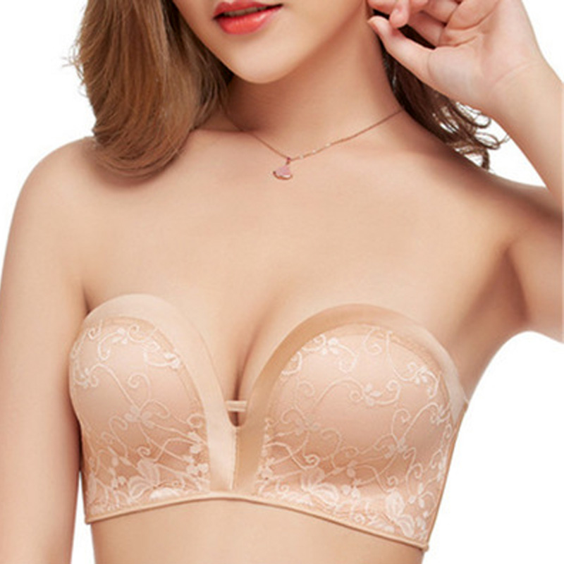 a7243186785c1 Dropwow Sexy Underwear Women Strapless Bra for Wedding Dresses Push Up Lace  Lingerie Female Low-cut Invisible Bra Backless Brassiere