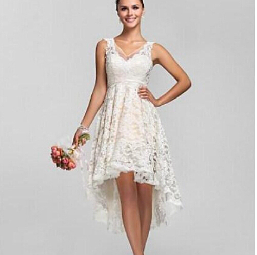 Discount Custom Vintage Greek Style A Line Detachable: Lace High Low Summer Beach Wedding Dresses Cheap Bridal