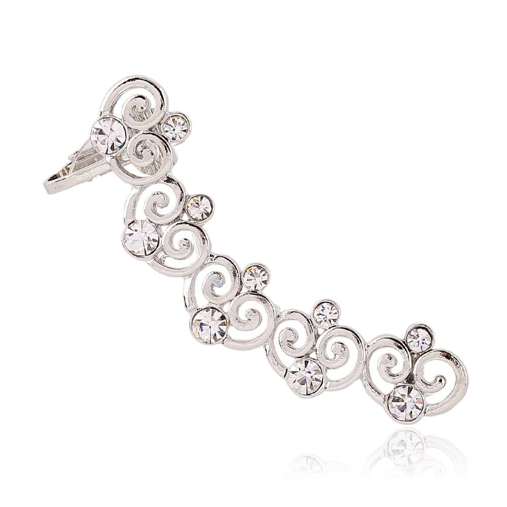 Inlaid Crystal Heartshaped Clip Earrings Left Right Ear Cilp Gold Silver  Ear Cuffs Earring
