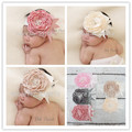 1pcs/lot DIY Handmade Flower Satin Flower Matching Sparking Pearl Headband  Lace Vintage girl Headband Girl Couture Headband
