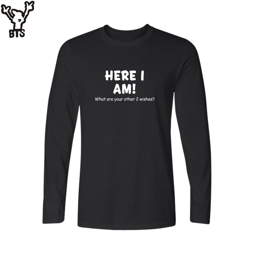 BTS 2017 Men Long Sleeve t shirt Slogan <font><b>Here</b></font> <font><b>I</b></font> <font><b>am</b></font> Funny Black White tshirt Men T Shirt Cotton in 3xl Soft Cotton Tees and Tops