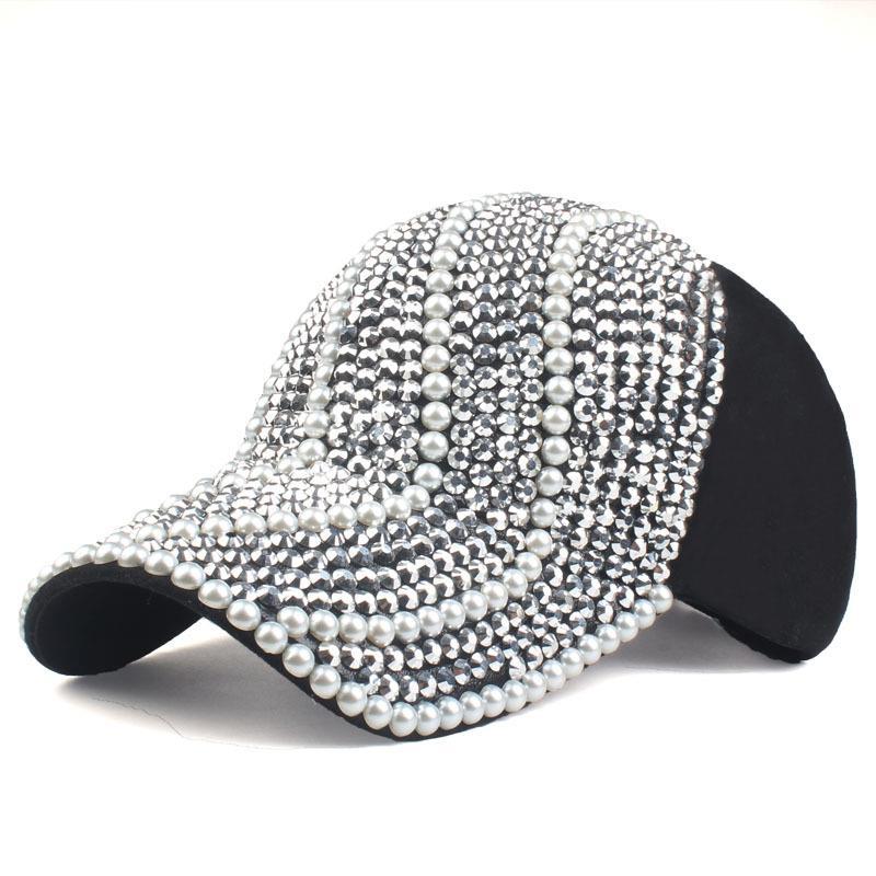 2019 Neue Marke Baseball Caps Für Frauen Strass Perlen Schwarz Farbe Hut Dame Mädchen Kappe Snapback Kappe Hüte Einstellbare Caps Schwarz