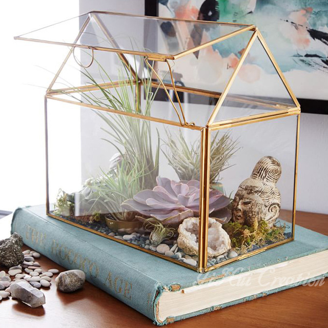 Geometric Glass House Handmade Glass Terrarium Modern Planter
