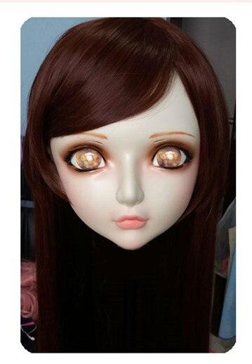 gl035 Women/girl Sweet Resin Half Head Kigurumi Bjd Mask Cosplay Japanese Anime Lifelike Lolita Mask Crossdressing Sex Doll Responsible
