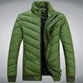 Плюс Размер Зимние Пальто Мужчины Теплый Тонкий Стенд Воротник Куртки Мужчины Толстые Твердые Парки мужская Хлопок Молния Куртка Комфортно одежда