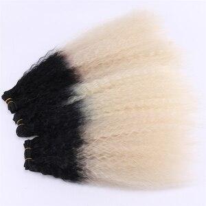 Image 5 - REYNA Kinky Straight hair extension 3 stuks een set hoge temperatuur synthetisch haar bundels voor vrouwen