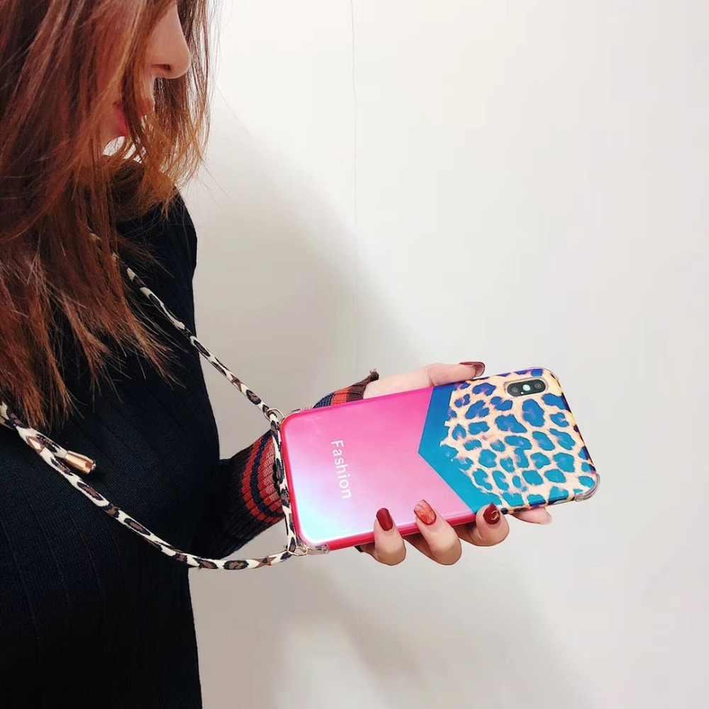 Funda para iphone XS MAX XR 6X6 S 8 7 Plus funda de moda antigolpes leopardo azul ray correa de hombro suave bolsa de teléfono de silicona