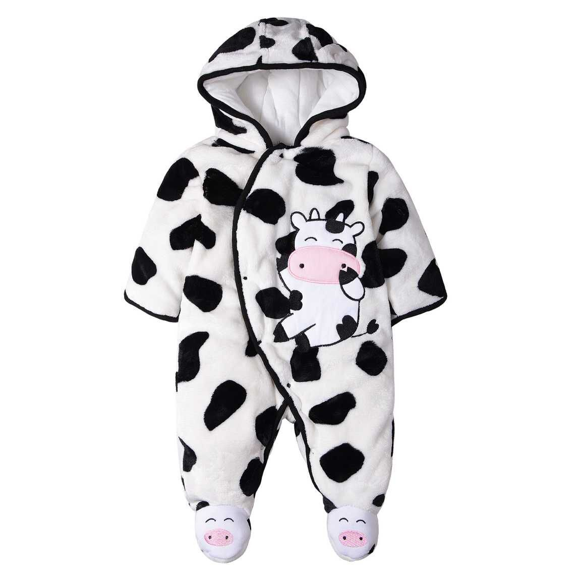 Newborn Animal Milk Cow Romper Baby Boy Warm Infant Romper Kid Girls Jumpsuit Hooded Infant Clothes Outfit Winter Baby Clothing