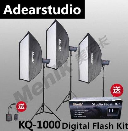 Menik kq 1000 Профессиональный 1000 Вт Аксессуары для фотостудий flash Освещение комплект для видео, портрет и фотографии no00dc