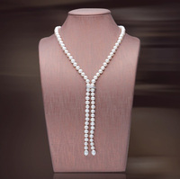 wholesale 8mm 35inche Long Natural freshwater Pearl Necklace / women Bridal Jewelry Crystal Women free shipping