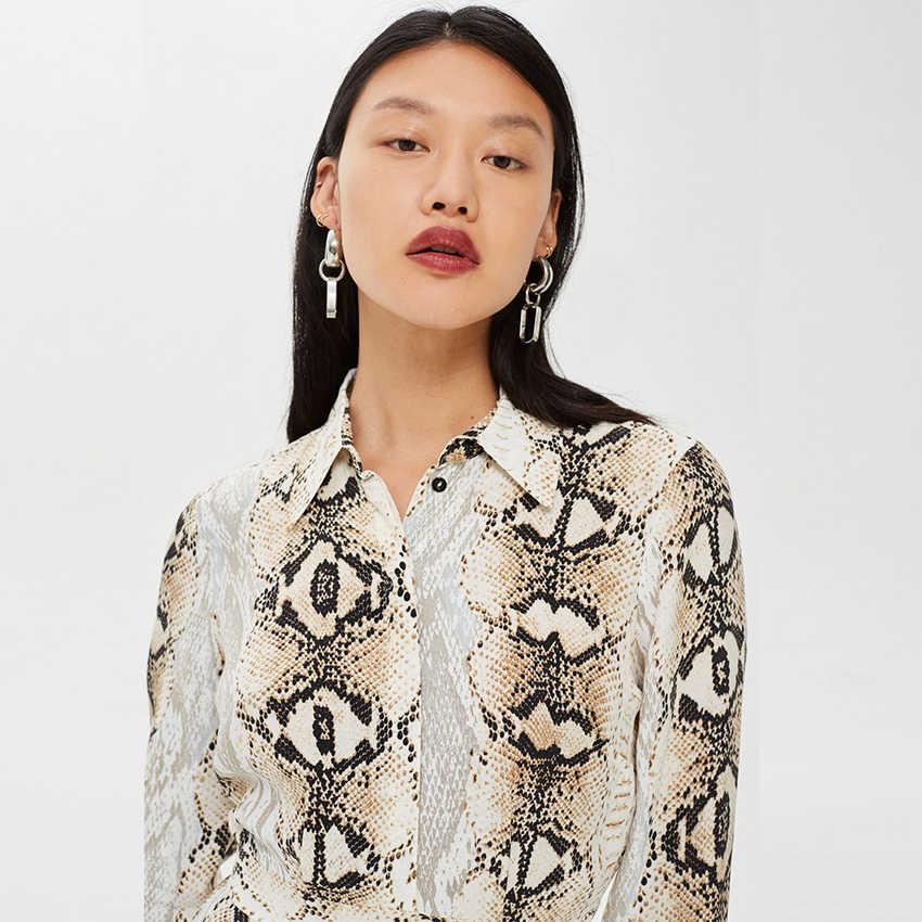 17b27cc883cc ... In stock Snake skin Printed Dress Loose Vintage Maxi Dresses Turn-down  collar Autumn Vestidoes ...