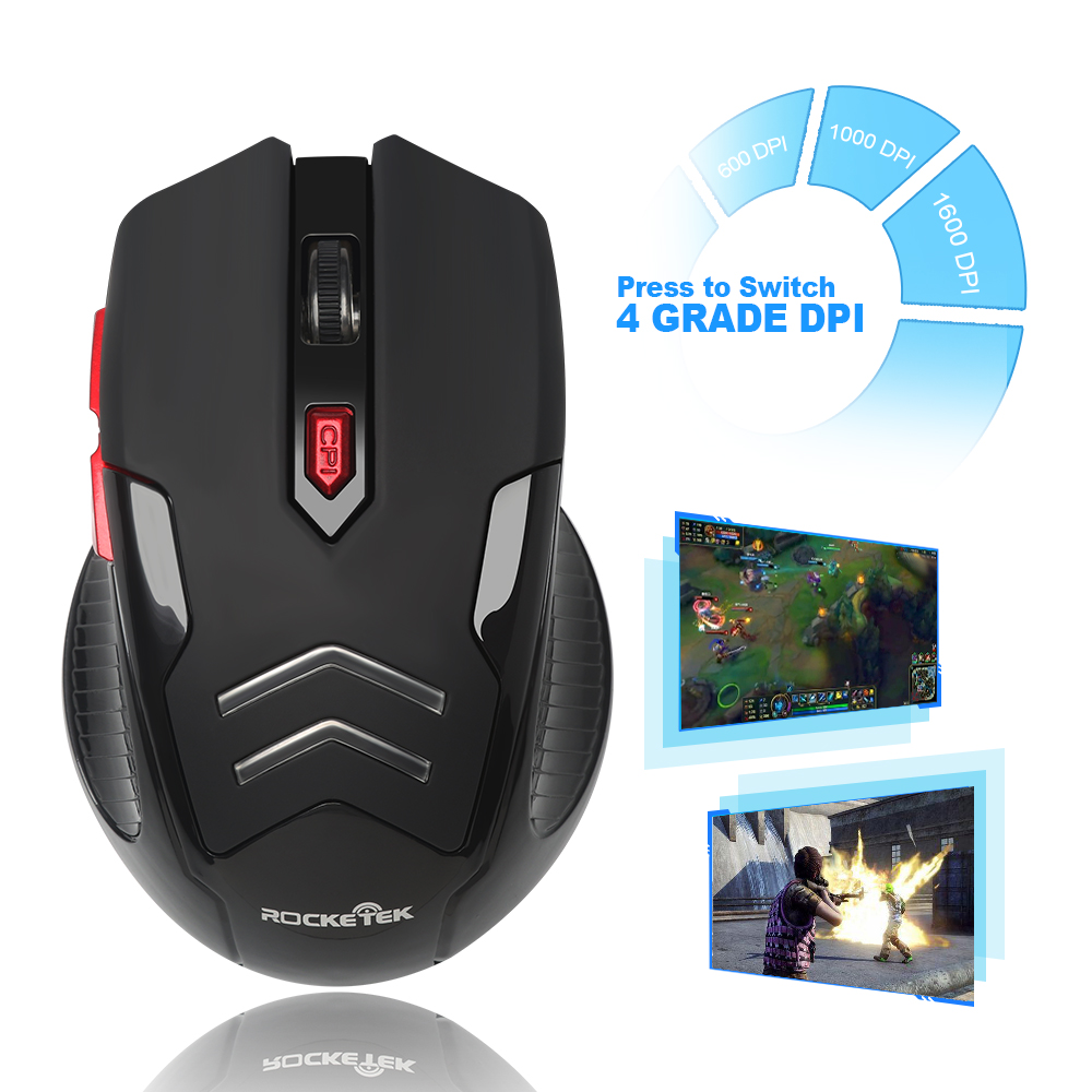 Image 5 - Rocketek USB Wireless Gaming Mouse 1600 DPI 6 buttons optical ergonomic for overwatch game laptop computer Mice-in Mice from Computer & Office