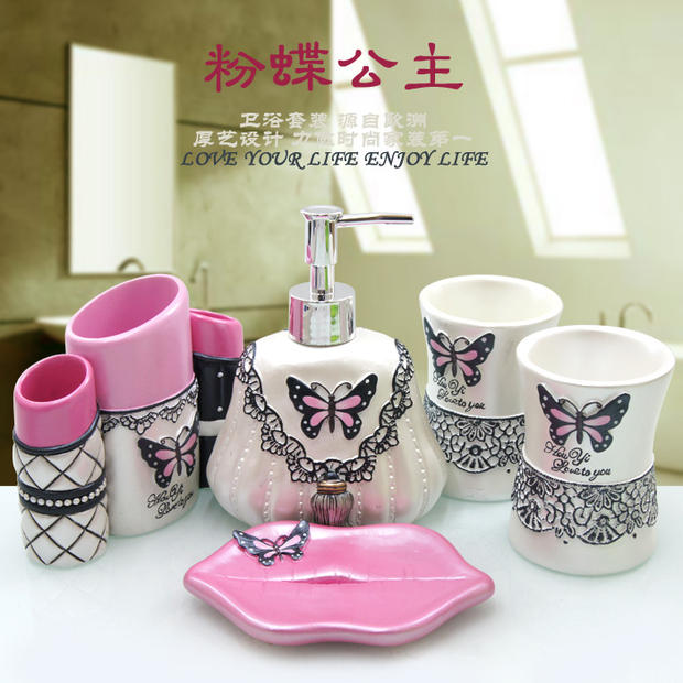 5 Pcs Set Grey Butterfly Bathroom Supplies Wash Set Creative Resin Bathroom Accessories Set Wedding