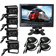 FREE SHIPPING 12V – 24V 9″ Quad Split Car Reversing Monitor 4CH Video View + 4 Backup Rear View CCD Camera For Truck Van Bus Car