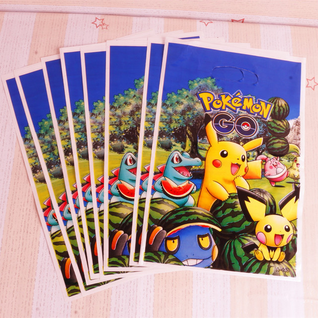 50pcs Lot Of New Pokemon Clever Pikachu Plastic Gift Bags For Children Birthday Party