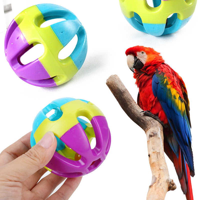 7cm ABS Biting Toy Ball With Bell Chewing Toy Parrot Pet Supply Pet Bird Toys Multicolor Training Interactive Training Toys