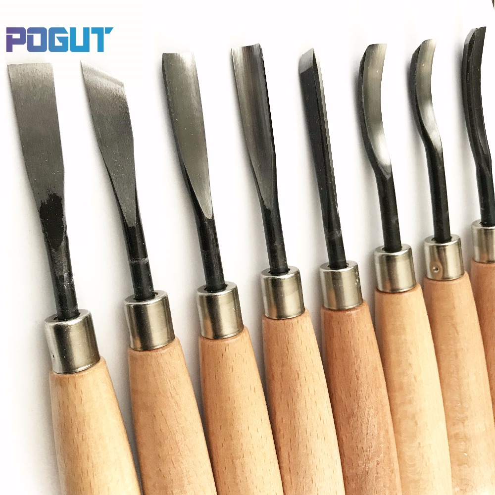 Купить с кэшбэком Free Shipping, 8Pcs Woodpecker Dry Hand Wood Carving Tools Chip Detail Chisel set Knives tool