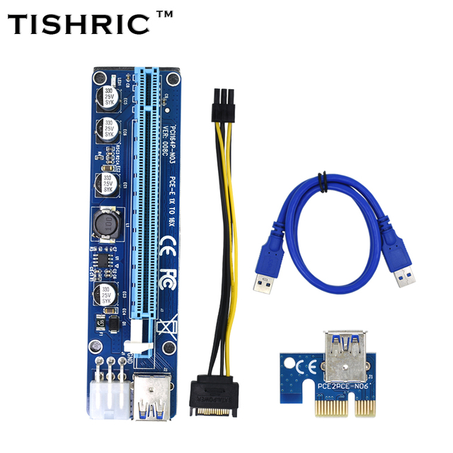 TISHRIC 10pcs VER008C Molex 6 Pin PCIE PCI-E PCI Express Riser Card 1X to 16X Extender USB 3.0 Cable For Mining Bitcoin Miner