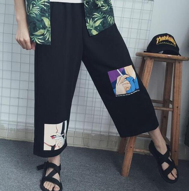 For girls anime   wide     leg     pants   Funny