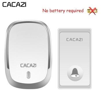 CACAZI-impermeable accionada timbre inalámbrico luz LED No de la batería inalámbrico timbre de la puerta nos enchufe de la UE 1 botón 1 2 receptor