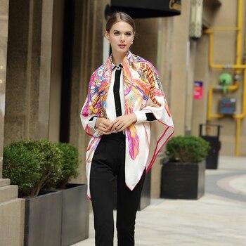 Элитный бренд шелковый шарф для женщин шарфы с леопардовым узором Женская мода квадратный платок 130 см * 130 Большой Хиджаб Платки Шарфы для д...