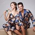 Китайский Королевский Пижамы Взрослых Пижамы Женщин Осень Зима Sexy Шелковый Атлас С Длинным Рукавом Пара Пижамы Дамы Три Набора