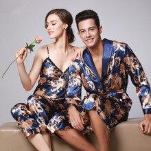 2017 Couple Sexy Silk Robe Women's Pajamas Long Sleeved Satin Kimono Floral Couple Robe&Gown&Pant three Piece Set China Dragon Print