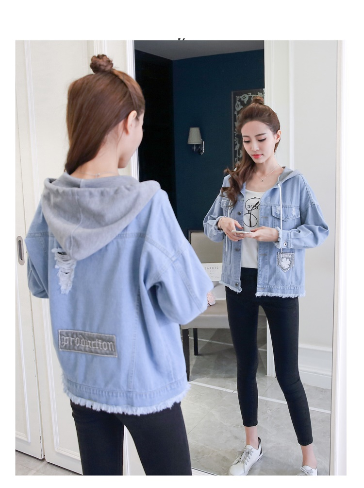 woman jacket spring 2019 New cowboy coat fashion Hooded Tops thin popular women's denim jackets Youth clothing for women 1240 46