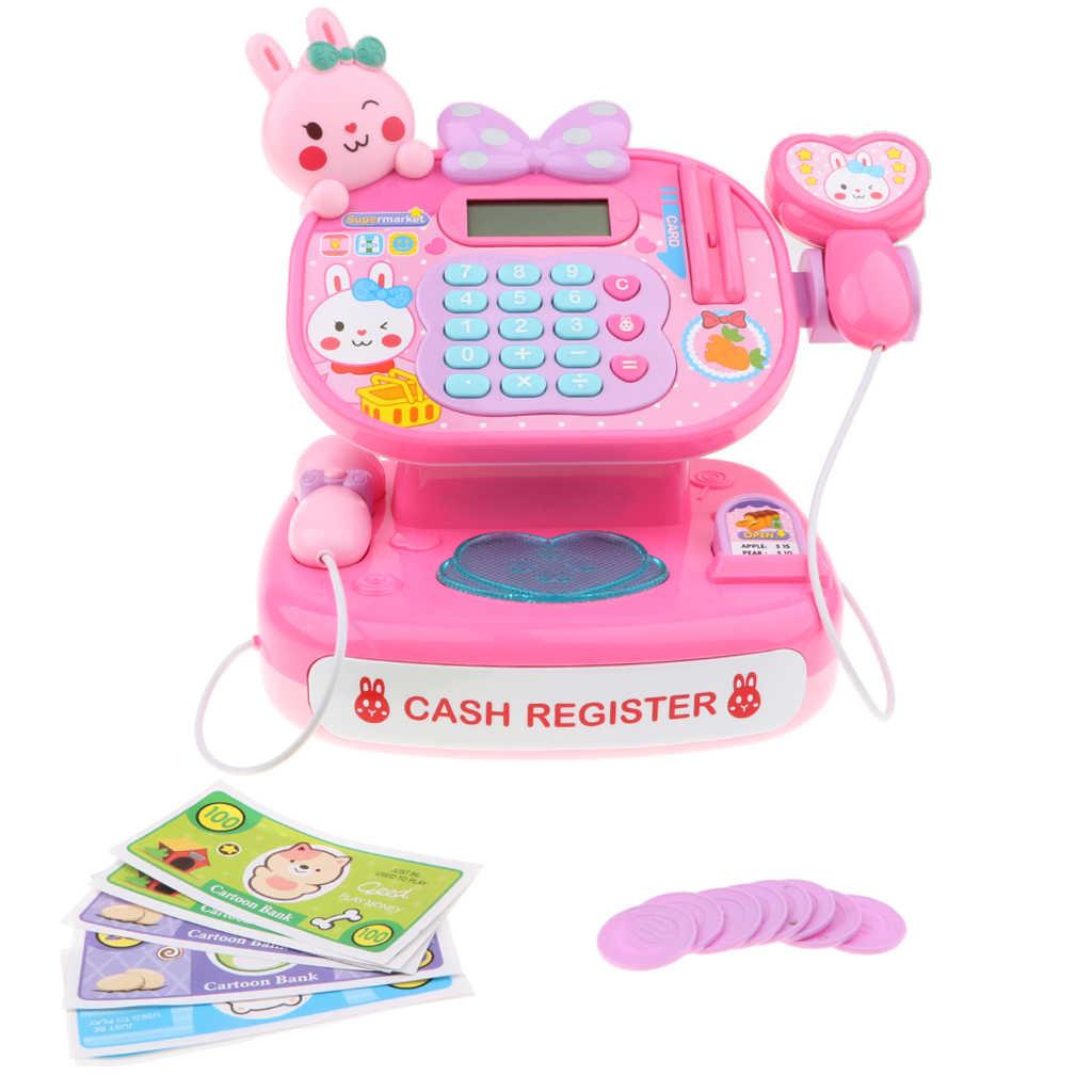 Elektronische Kassa Speelgoed W/ Mic Speaker & Scanner, W/Winkelwagen + Play Voedsel Pretend Play Supermarkt Kassier Spel Rekwisieten