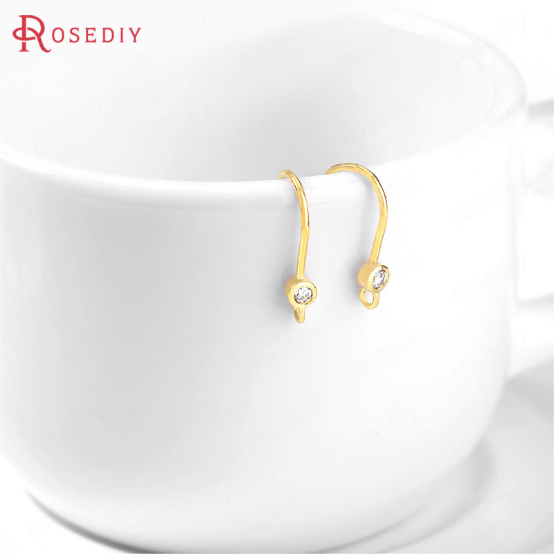 (35866)6PCS 9x14MM 24K Gold Color Brass And Zircon Earring Hooks High Quality Diy Jewelry Findings Accessories