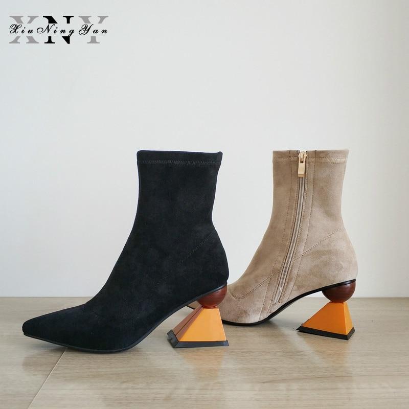 XiuNingYan Black Women High Heel Ankle Boots Stretch Fabric Feminina Pointed Toe Botas Mujer Zipper Shoes Women Pumps Sock Boots
