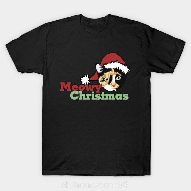 2019 Fashion Hot T font b Shirt b font Meowy Christmas Calico cat catmas T font