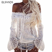 ELSVIOS Lace Stitching Blouses Sexy Hollow Out Off Shoulder Blouses Shirts Long Flare Sleeve White Black