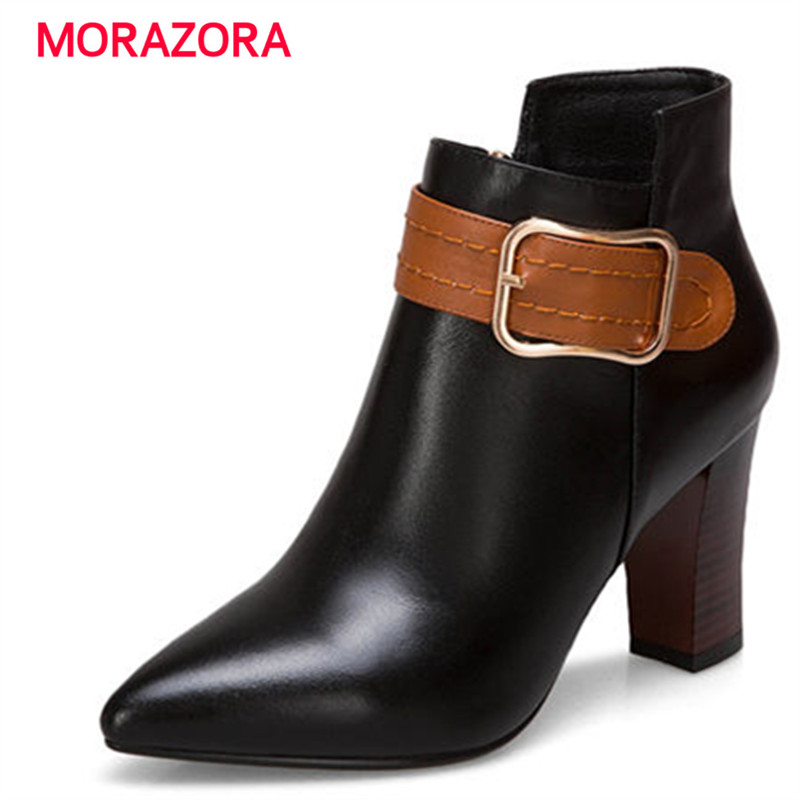 MORAZORA 2018 new elegant square heel zipper ankle boots fashion pointed toe genuine leather boots high heel womens bootsMORAZORA 2018 new elegant square heel zipper ankle boots fashion pointed toe genuine leather boots high heel womens boots