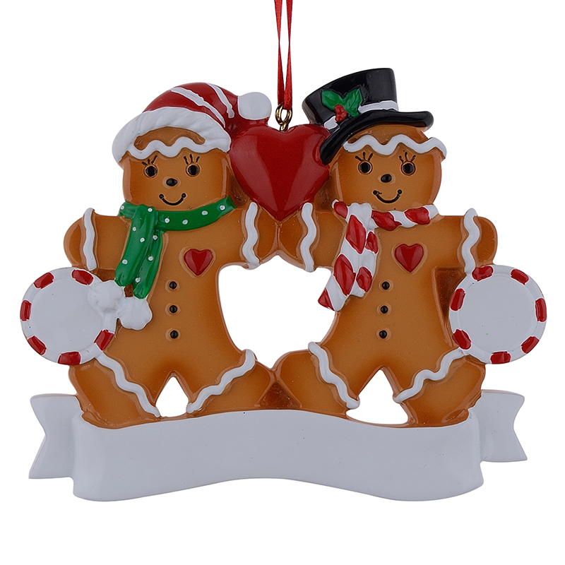 Resin Christmas Ornaments.Us 13 99 Wholesale Gingerbread Family Of 2 Resin Christmas Ornaments With Red Apple As Personalized Gifts For Holiday Party Home Decor In Pendant