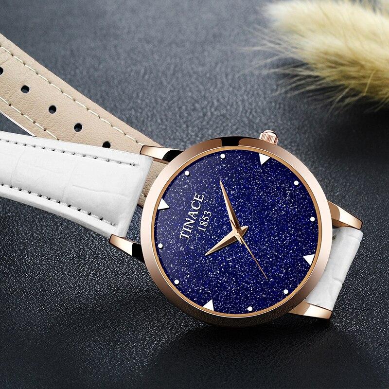 Nova marca de relógio de quartzo senhoras relógio de couro à prova d' água relógio de forma mulher romântica relógio Montre Femme Relogio Faminino - 4