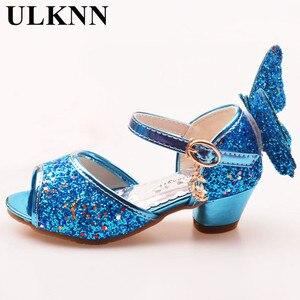 Image 2 - ULKNN/сандалии для девочек; розовые туфли для латинских танцев со стразами и бабочками; От 5 до 13 лет 6; летние туфли принцессы на высоком каблуке для детей 7 лет